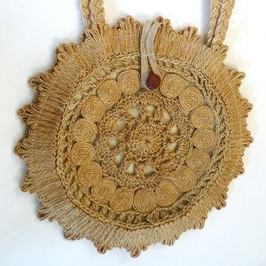 Round jute macrame crochet market Tote Bag basket